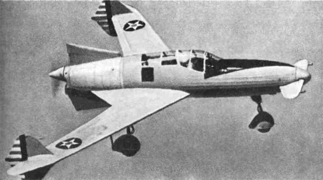 Легкая летающая модель CW-24B схемы 'утка' (фирма 'Кертисс-Райт', конкурс на разработку нового истребителя, 1941 г.).